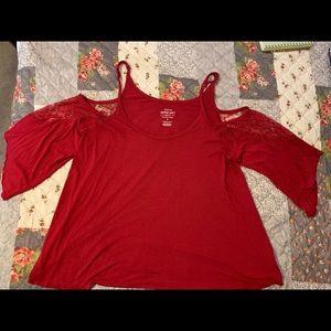 Torrid Super Soft Cherry Red Cold Shoulder Top